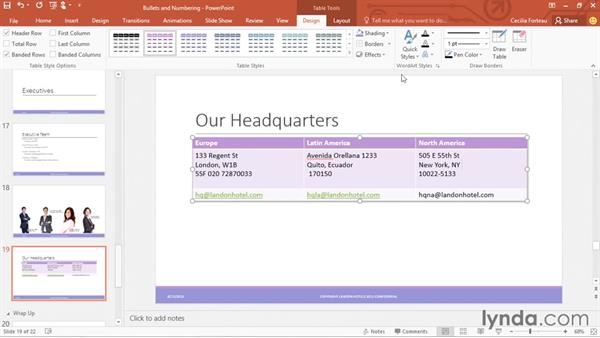 Creating and formatting tables: Office 365: PowerPoint Essential Training