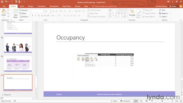 Insering tables from Excel: Office 365: PowerPoint Essential Training