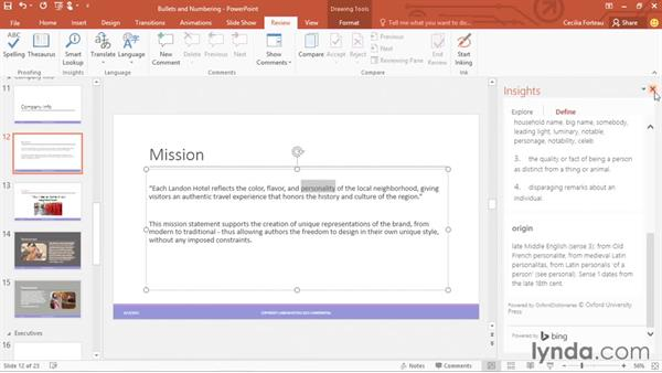 Using the research, language, and thesaurus tools: Office 365: PowerPoint Essential Training