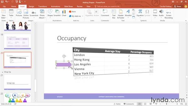 Adding shapes: Office 365: PowerPoint Essential Training