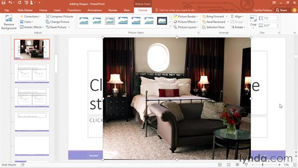 Cropping a picture to a shape: Office 365: PowerPoint Essential Training