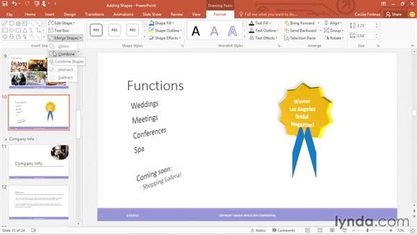 Merging shapes to create your own graphics: Office 365: PowerPoint Essential Training