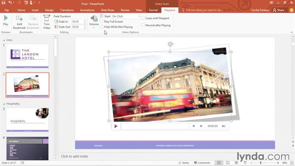 Working with video clips: Office 365: PowerPoint Essential Training