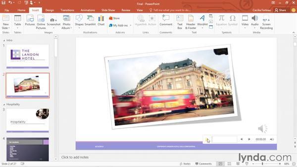 Adding and working with audio files: Office 365: PowerPoint Essential Training