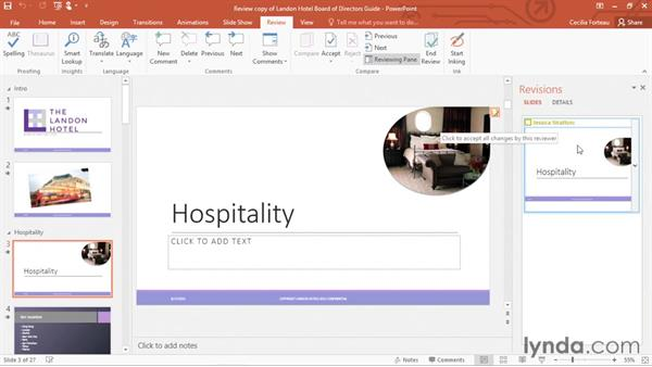 Reviewing and comparing changes with coworkers: Office 365: PowerPoint Essential Training