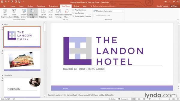 Setting up slideshows and custom shows: Office 365: PowerPoint Essential Training
