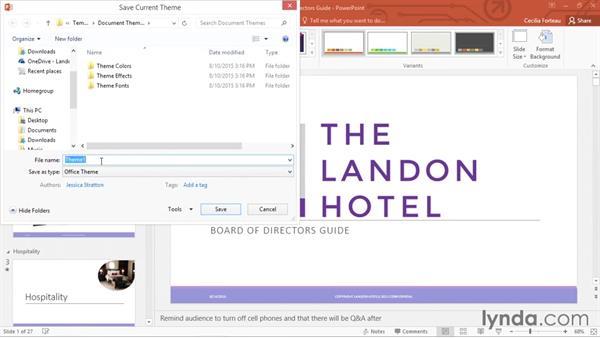 Saving a custom theme: Office 365: PowerPoint Essential Training