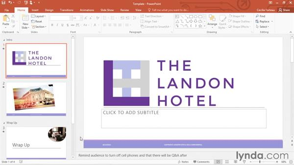 Saving a presentation as a template: Office 365: PowerPoint Essential Training