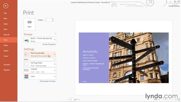 Printing a presentation: Office 365: PowerPoint Essential Training