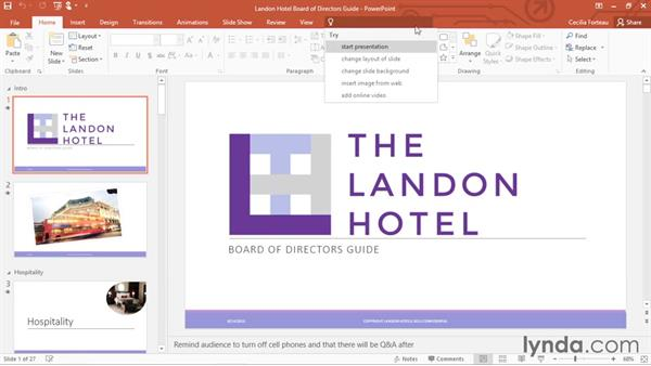 Touring the PowerPoint interface: PowerPoint 2016 Essential Training