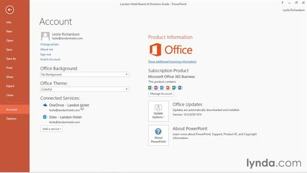 Connecting PowerPoint to your OneDrive account: PowerPoint 2016 Essential Training