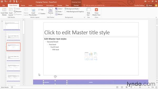 Controlling the look of your presentation with slide masters: PowerPoint 2016 Essential Training
