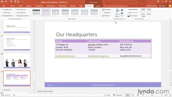 Creating and formatting tables: PowerPoint 2016 Essential Training