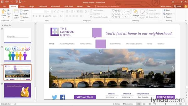 Formatting shapes: PowerPoint 2016 Essential Training