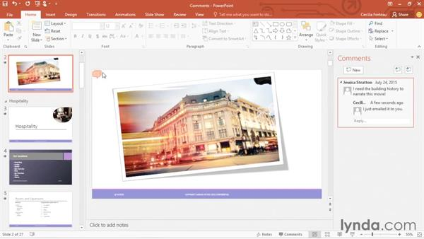 Adding and viewing comments: PowerPoint 2016 Essential Training