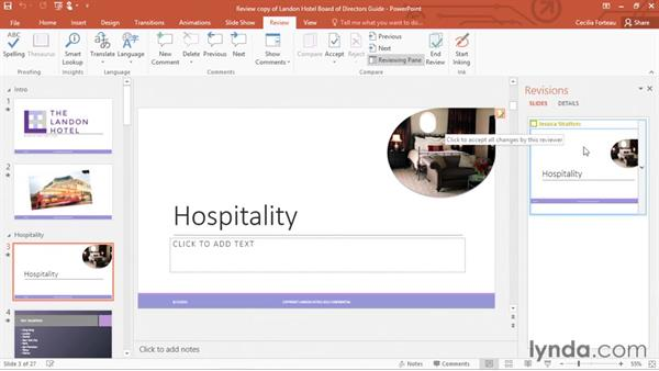 Reviewing and comparing changes with others: PowerPoint 2016 Essential Training