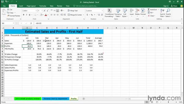 Using the Formula bar: Excel 2016 Essential Training