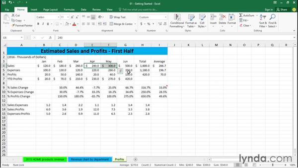 Using the Status bar: Excel 2016 Essential Training