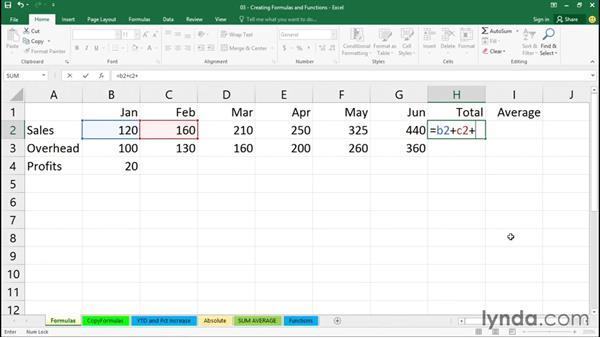 Creating simple formulas: Excel 2016 Essential Training