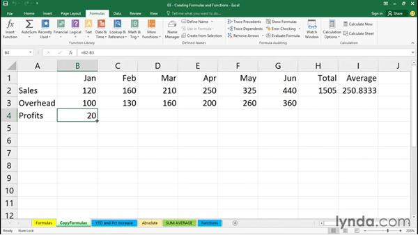 Copying a formula into adjacent cells: Excel 2016 Essential Training