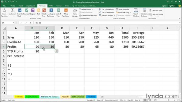 Calculating year-to-date totals: Excel 2016 Essential Training