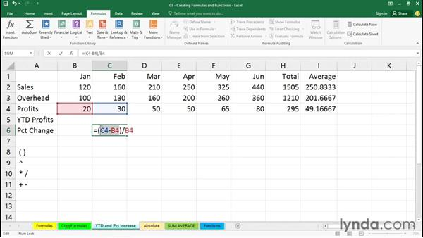 Creating a percentage-change formula: Excel 2016 Essential Training