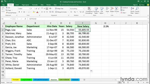 Working with relative, absolute, and mixed references: Excel 2016 Essential Training