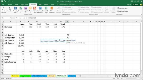Using SUM and AVERAGE: Excel 2016 Essential Training