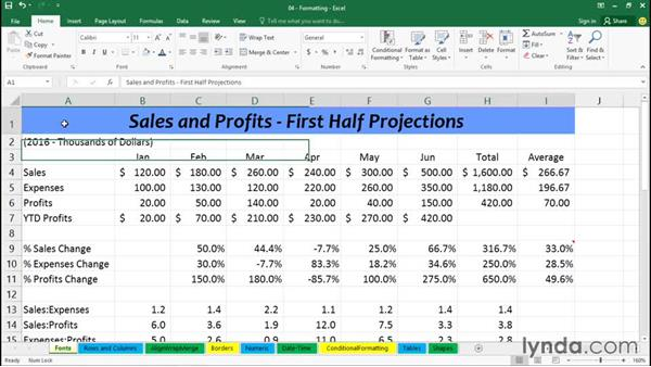 Exploring font styles and effects: Excel 2016 Essential Training