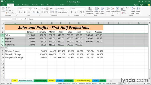 Adjusting row heights and column widths: Excel 2016 Essential Training