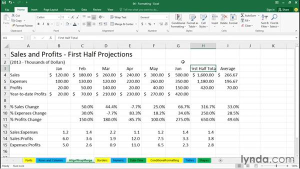 Working with alignment and Wrap Text: Excel 2016 Essential Training