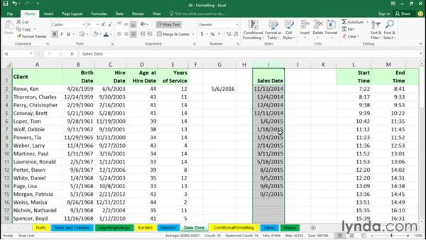 Formatting numbers and dates: Excel 2016 Essential Training