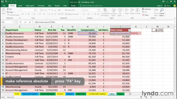 Creating and using tables: Excel 2016 Essential Training