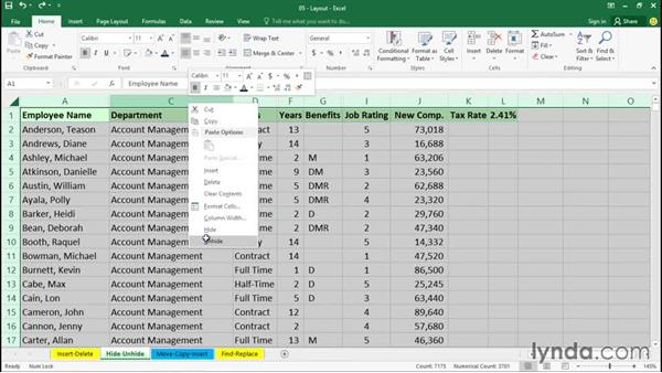 Hiding and unhiding rows and columns: Excel 2016 Essential Training