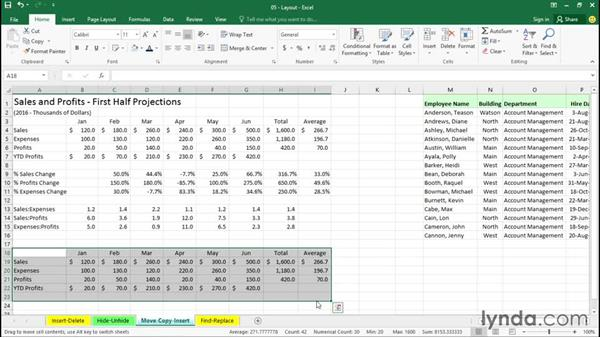 Moving, copying, and inserting data: Excel 2016 Essential Training