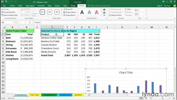 Creating charts: Excel 2016 Essential Training