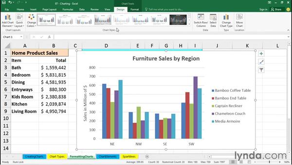 Formatting charts: Excel 2016 Essential Training