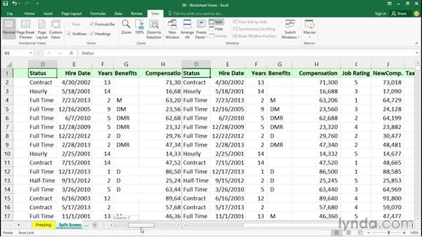 Splitting screens horizontally and vertically: Excel 2016 Essential Training