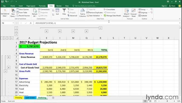 Collapsing and expanding data views with outlining: Excel 2016 Essential Training