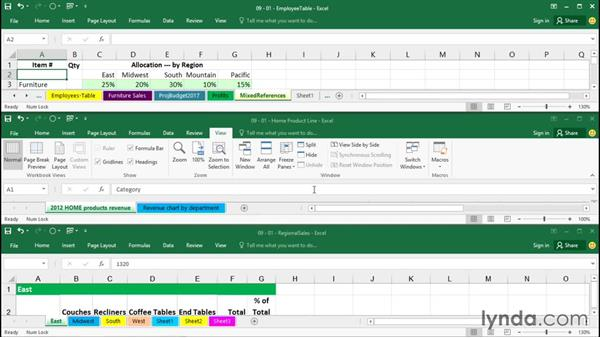 Displaying multiple worksheets and workbooks: Excel 2016 Essential Training
