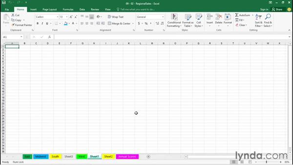 Renaming, inserting, and deleting sheets: Excel 2016 Essential Training