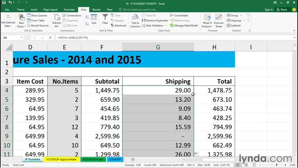 Using IF functions and relational operators: Excel 2016 Essential Training