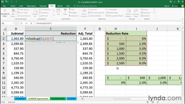 Getting approximate table data with the VLOOKUP function: Excel 2016 Essential Training