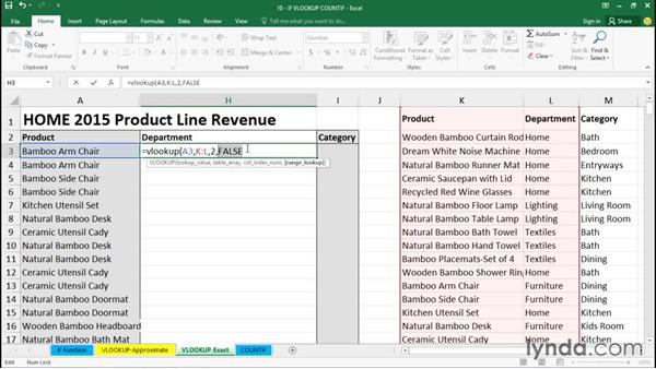 Getting exact table data with the VLOOKUP function: Excel 2016 Essential Training