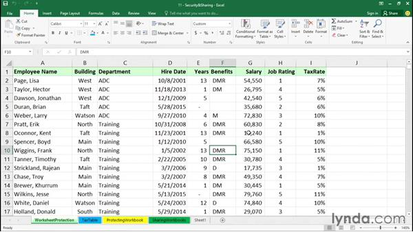 Protecting workbooks: Excel 2016 Essential Training