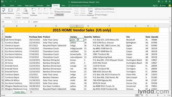 Sharing workbooks: Excel 2016 Essential Training