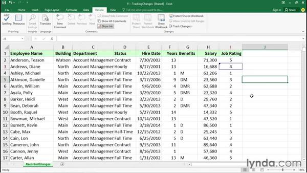 Tracking changes: Excel 2016 Essential Training