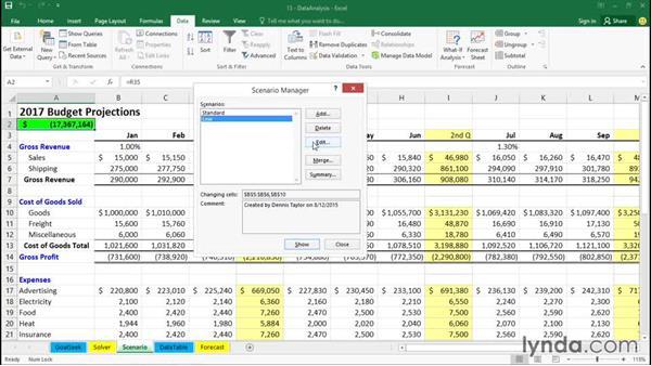 Using Scenario Manager: Excel 2016 Essential Training