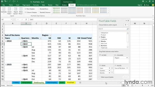 Grouping by date and time: Excel 2016 Essential Training