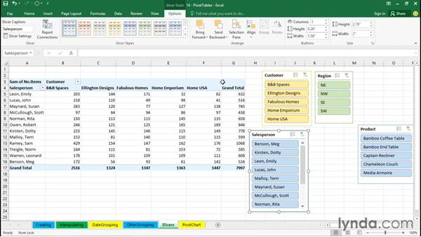 Using slicers to clarify and manipulate fields: Excel 2016 Essential Training